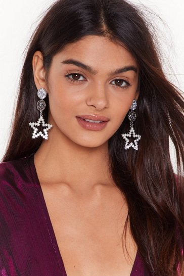 Womens Silver She's Like a Star Embellished Drop Earrings