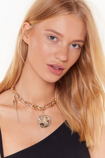 Womens Gold Out of Orbit Chunky Chain Necklace