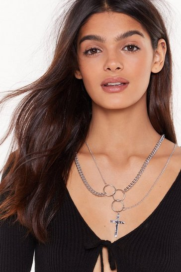 Womens Silver Double ring layered cross necklace