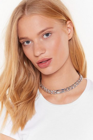 Womens Silver Chain-ge the World Chunky Chain Necklace