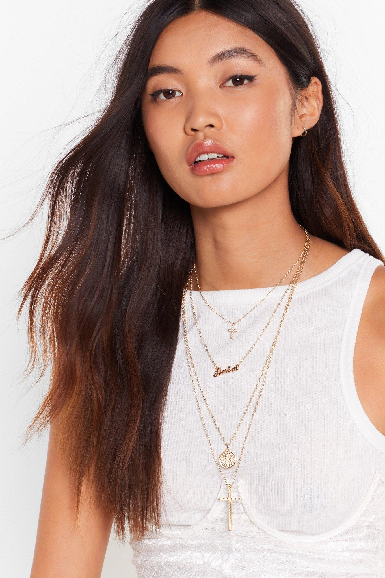 Don't Double Cross Me Layered Necklace by Nasty Gal