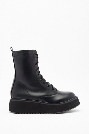Womens Black Pu flatform lace up biker boots
