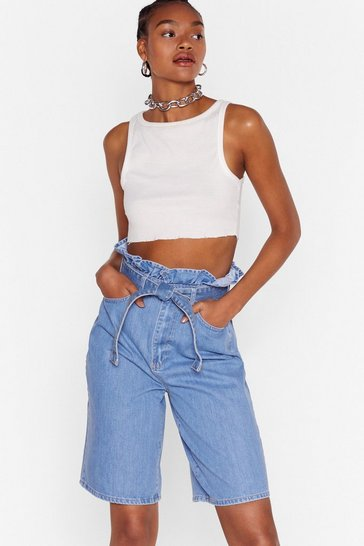 High-Waisted Belted Denim Shorts in Vintage Blue