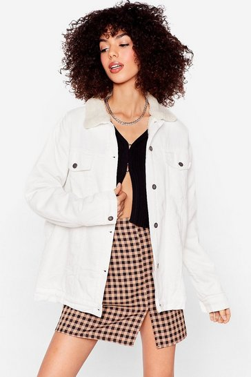 Ecru Sherpa Collar Oversized Denim Jacket