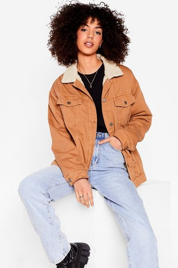 Tan Sherpa Collar Oversized Denim Jacket