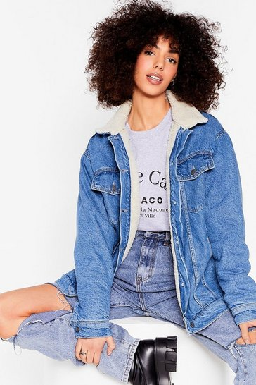 Vintage blue We Feel Ya Faux Shearling Denim Jacket
