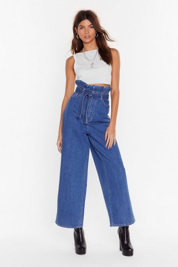 Vintage blue Never Belt So Good Paperbag Wide-Leg Jeans