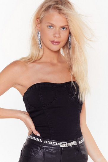 Washed black Hey What's Cup Denim Corset Top