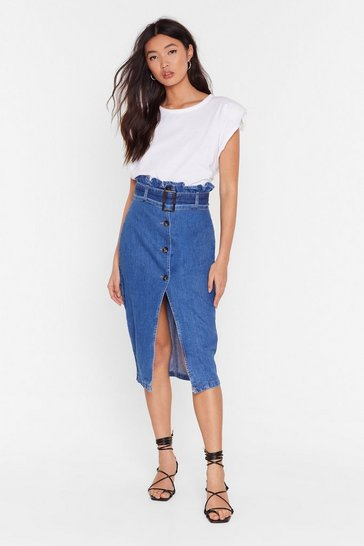 Mid blue Paperbag in Action Denim Midi Skirt