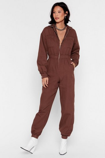 Tobacco Slip of the Zip Relaxed Denim Boilersuit