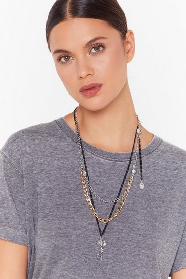 Gun metal Persistence is Key Layered Necklace