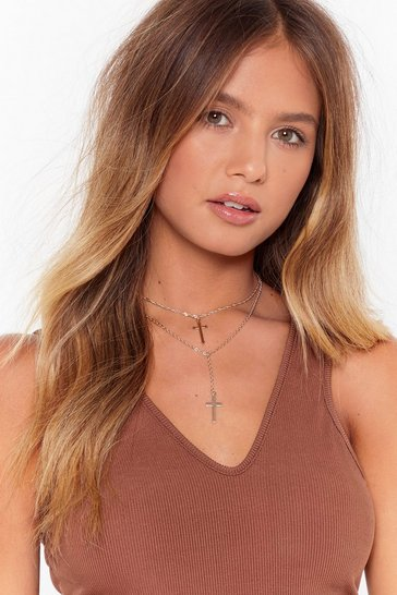 Gold They've Double Crossed Me Layered Necklace