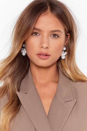 Silver We're Worth It Pearl-Inspired Drop Earrings