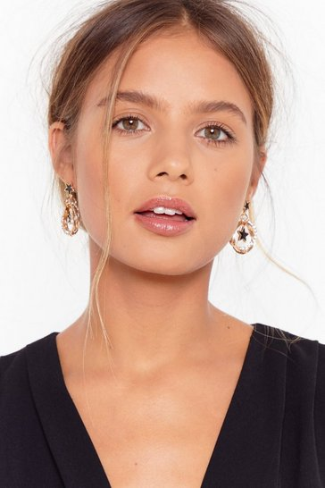 Gold Diamante hoop star earrings