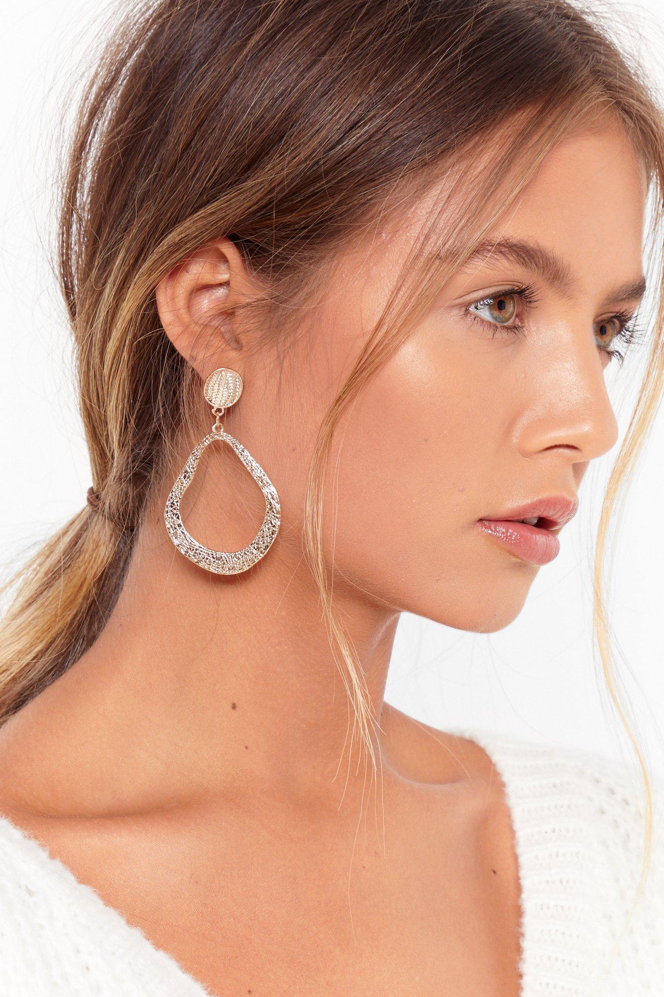 Textured Hoop Drop Earrings by Nasty Gal