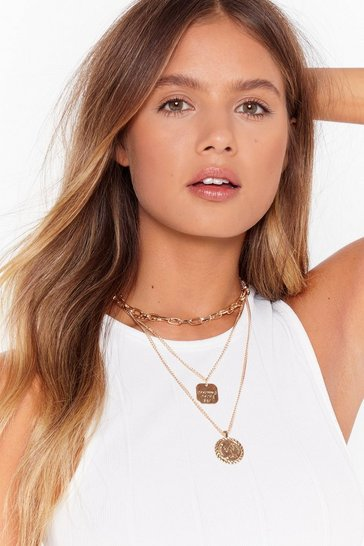 Gold 4 layer chain pendant necklace