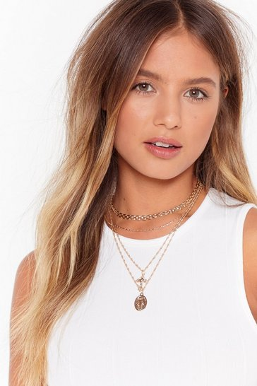Gold Crossed Off Layered Chain Necklace