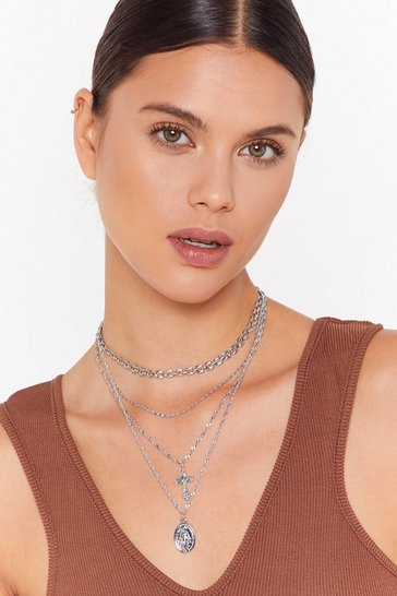 Silver Crossed Off Layered Chain Necklace