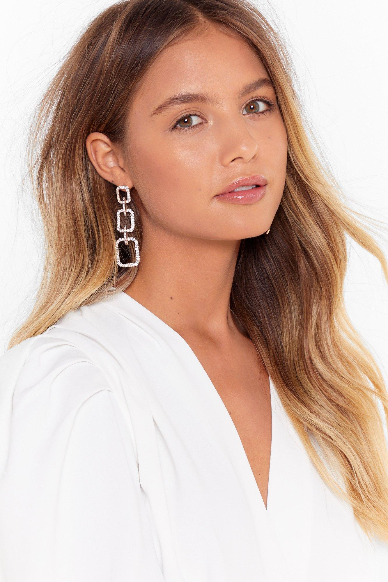 Diamante Square Triple Drop Earrings by Nasty Gal