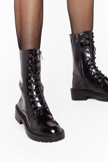 Womens Black Tied and Tested Faux Leather Lace-Up Boots