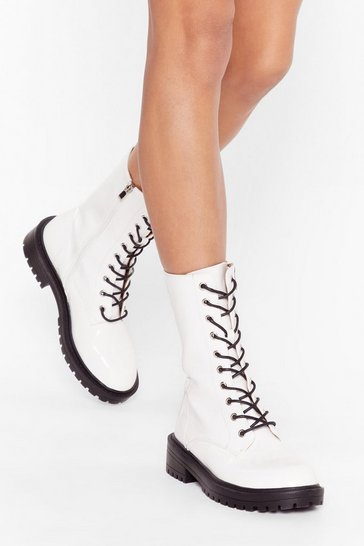 White Calf-High Faux Leather Lace-Up Boots