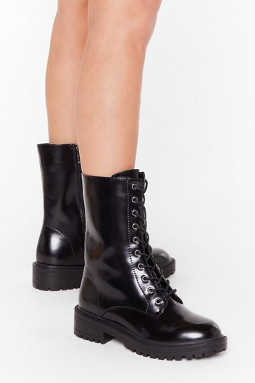 Black Tied and Tested Wide Fit Faux Leather Boots