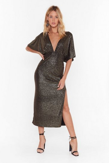 Womens Gold Never Gonna Let Disco Metallic Midi Dress