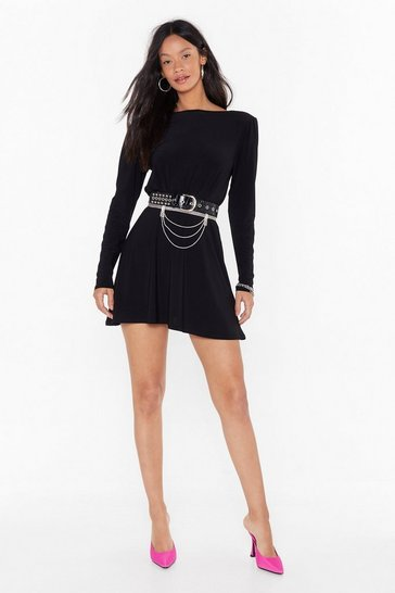 Womens Black We'll Never Scoop to Your Level Relaxed Mini Dress