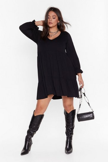 Womens Black Smock It to Me Plus Mini Dress