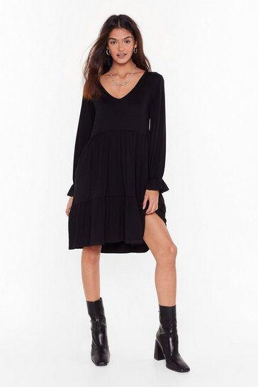 Womens Black Smock It to Me Relaxed Mini Dress