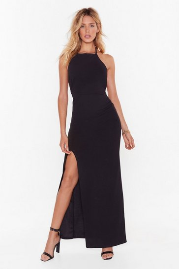 Womens Black  cross back high neck maxi dress
