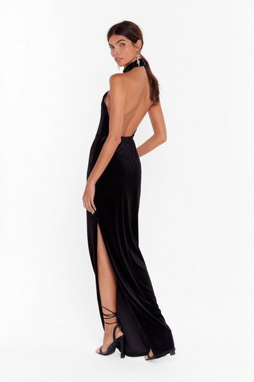 Womens Black This is My Halter Ego Velvet Maxi Dress