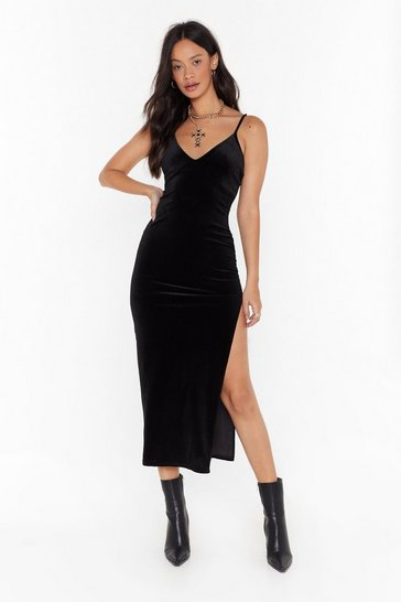 Womens Black Slit Me Up Velvet Midi Dress