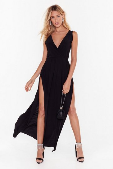 Womens Black Tie to Resist Me Plunging Maxi Dress