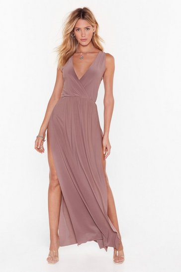 Mocha Tie to Resist Me Plunging Maxi Dress