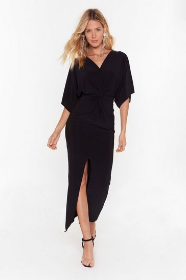 Womens Black Waitin' For the Plot Twist Plunging Maxi Dress