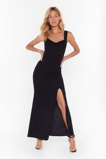Black What You Cup to Tonight Slit Maxi Dress