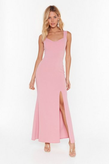 Rose What You Cup to Tonight Slit Maxi Dress