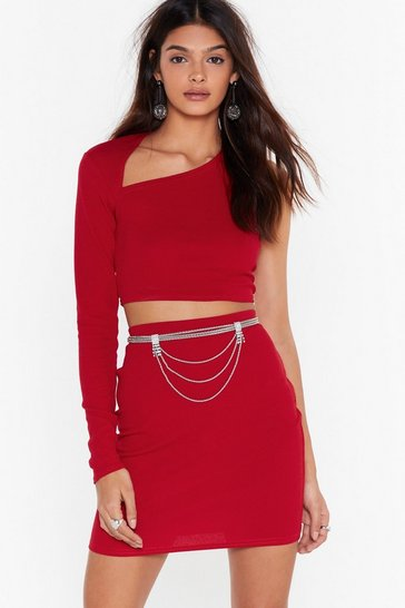 Womens Red Let Me Be the One Shoulder Crop Top and Skirt Set