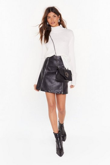 Womens Black Brave the Faux Leather Zip Mini Skirt
