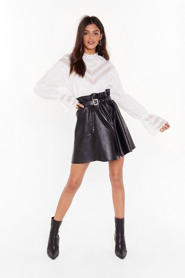 Womens Black Faux Leather You'll Love Me Belted Mini Skirt