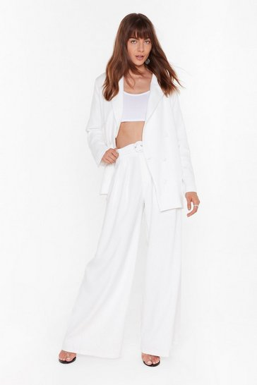 Womens White The Night's Not Over Wide-Leg Belted Pants