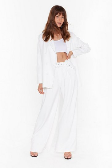 Womens White The Night's Not Oversized Double Breasted Blazer