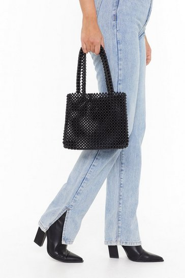 Womens Black WANT All I Need Beaded Handbag
