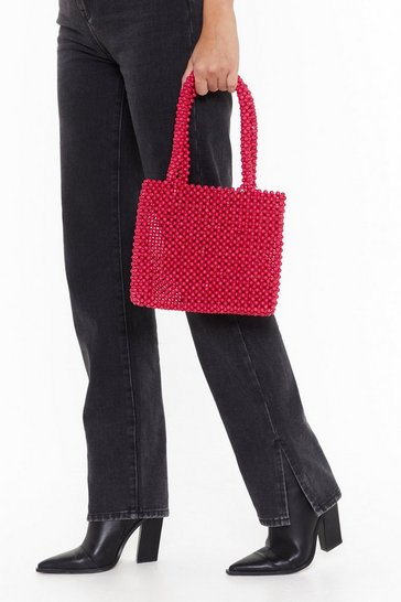 Womens Magenta WANT All I Need Beaded Handbag