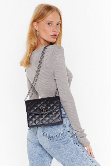 Black WANT Quilt Playin' Games Faux Leather Crossbody Bag