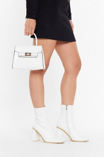 Womens White WANT We're in Croc Faux Leather Bag
