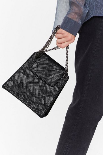 Womens Black WANT Out at Night Snake Shoulder Bag