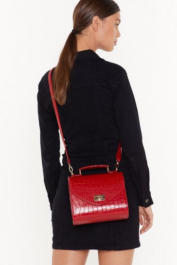Womens Red WANT I Love Croc 'N' Roll Faux Leather Crossbody Bag
