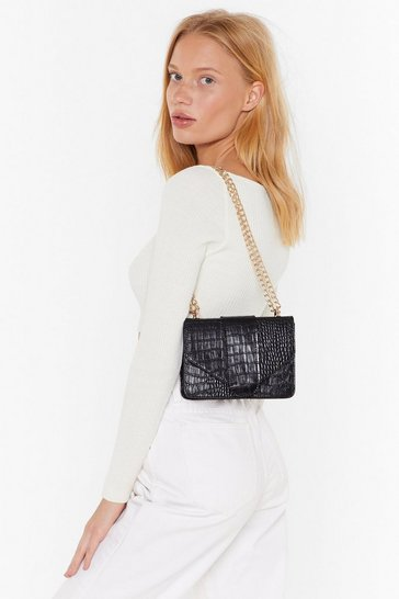 Womens Black WANT In the Shadows Croc Shoulder Bag
